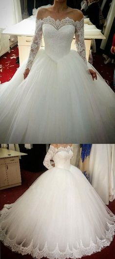 lace long sleeves tulle ball gowns wedding dresses off the shoulder by prom dresses, $169.79 USD