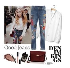 """""""Denim Kings"""" by annamariagv ❤ liked on Polyvore featuring Gap, True Religion, New Directions and The Cambridge Satchel Company"""