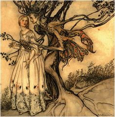 I wonder what tales this tree has to whisper in her ear....an Arthur Rackham drawing again...he is stunning and dark at the same time....jpg