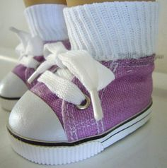 Lavender Sneakers made for American Girl Doll Clothes Canvas Gym Shoes #Generic