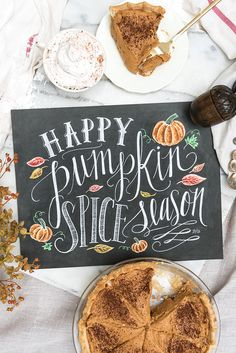When the leaves change color and a crisp chill sets in, you know it's Pumpkin Spice Season! Show your love for Fall by displaying this cozy print featuring original, hand drawn chalk lettering and col