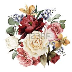 Illustration of Greeting card with roses, watercolor, can be used as invitation card for wedding, birthday and other holiday and summer background. Flower Images, Flower Pictures, Rose Images, Floral Rosa, Illustration Blume, Summer Backgrounds, Wallpaper Gallery, Watercolor Rose, Watercolor Wedding