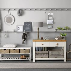 Grey-Hallway-storage-Ideal-Home-Housetohome.jpg - Hallway storage Image Resolution: Width: Height: File Size: See Full Hallway Colour Schemes, Hallway Colours, Color Schemes, Hallway Storage Bench, Cloakroom Storage, Hall Storage Ideas, Storage Solutions, Storage Organization, Grey Hallway