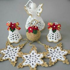 Items similar to Christmas ornaments Crochet set of 6 White gold ornaments set Two bells White angel and 3 snowflakes Golden ball Winter wedding decor on EtsyGorgeous Christmas set of 6 crocheted ornaments. A Must Have for every home at Christmas! Crochet Christmas Decorations, Crochet Christmas Ornaments, Crochet Decoration, Christmas Crochet Patterns, Holiday Crochet, Crochet Snowflakes, Handmade Christmas, Christmas Crafts, Christmas Ornament Sets