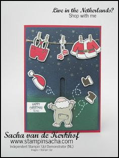 Stampin' Sacha | Stampin' Up! | Autumn/Winter Catalogue 2017 | Santa's Suit | Santa Builder Framelits | Slider Card | Christmas Card