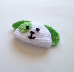 $9.00 -  White and Lime Green crochet dog beanie hat, size Newborn 0-3 Months. This is a sweet, simple design of hat that is great for boys or girls!