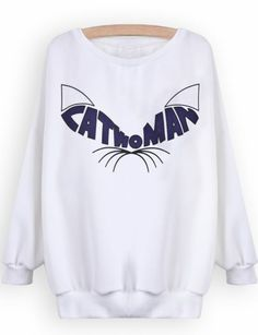 White Long Sleeve Cat Ears Print Sweatshirt pictures