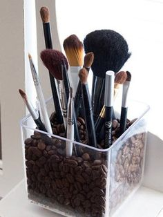 This is really simple and easy, I also have something similar to this on my DIY board. What you do is grab a plastic or glass container or vase (your preference) add coffee beans or vase fillers and stick your brushes in VIOLA! Fun, simple, and organized!