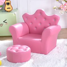 Costzon Kids Sofa, PU Leather Princess Sofa with Embedded Crystal, Upholstered Armchair with Ottoman, Perfect for Girls (Pink/ Sofa with Ottoman) Pink Kids Bedroom Furniture, Sofa Furniture, Kids Furniture, Girls Bedroom, Playroom Furniture, Furniture Cleaning, Furniture Market, Furniture Removal, Bedroom Chair