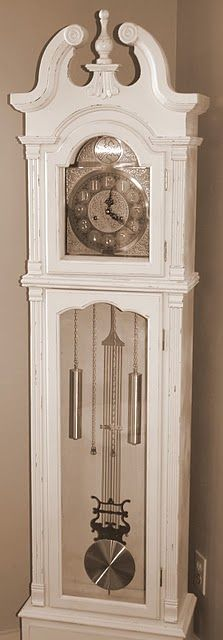 The Turquoise Piano: Grandfather Clock Makeover Plywood Furniture, Painted Furniture, Painted Wood, Hand Painted, Old Clocks, Antique Clocks, Repurposed Grandfather Clock, Modern Grandfather Clock, Grandmother Clock