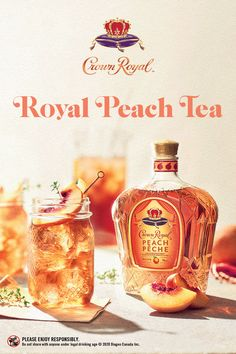 Crown Royal Peach is back and just in time to make a refreshing tasting summertime cocktail for backyard enjoyment.  This mouth-watering blend is only here for a limited time.  Royal Peach Tea Recipe: 1.5 oz Crown Royal Peach - 6.0 oz Iced Tea - Fresh Lemon  Royal Peach Fizz Recipe: 0.5 oz Crown Royal Peach - 0.5 oz Orange Juice - 4.0 oz Champagne - Mint Garnish Instructions - Add Crown Royal Peach and Orange Juice - Top with champagne - Garnish with mint Party Drinks, Cocktail Drinks, Fun Drinks, Beverages, Cocktails, Peach Drinks, Summer Drinks, Crockpot, Keto Desserts
