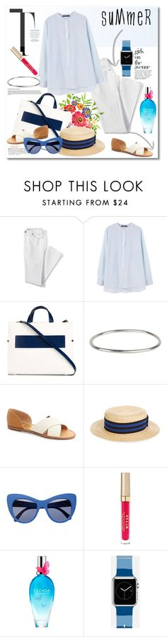 """""""Summer time"""" by vkmd ❤ liked on Polyvore featuring Avenue, Lands' End, Violeta by Mango, DESA 1972, Ann Demeulemeester, Dolce Vita, Lanvin, STELLA McCARTNEY, Stila and ESCADA"""
