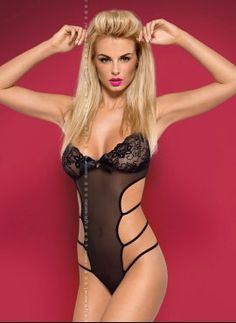 #Lago is a spicy and #provocative teddy, manufactured by the Obsessive brand. This #teddy consists of perfect shaped shoulder straps, #LaceCups. It is made on transparent net with  sexy cut #satin. Lago teddy is alluring lingerie has uncovering #buttock thong. Click on the image.