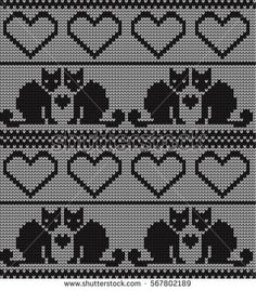 Knitted seamless border cats and hearts on Valentine's
