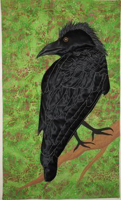 Crow with mohawk wall hanging by Kristin Shields
