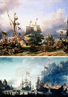 July the Raid on the Medway ends in a British defeat Anglo Dutch Wars, Master And Commander, Old Sailing Ships, Vintage Paintings, Naval History, Set Sail, Seascape Paintings, 2d Art, Tall Ships