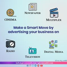 We help you to make your smart move. Just Contact us 9874772030 / 9830213815 or visit www.givemyadd.com Advertising, Ads, Promote Your Business, Give It To Me, How To Make, Digital Media, Promotion, Cinema, Marketing