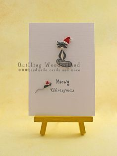 Christmas Greeting Card Quilled Card Meowy by QuillingWonderland