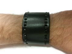 Black Leather Arm Cuff Bracelet Mens Womens by BriAndAshStore