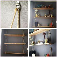 Image of: office hanging shelves cubicle shelf diy hanging rope shelving such fun alternative to Diy Bookshelf Wall, Cheap Bookshelves, Wall Mounted Bookshelves, Wall Hanging Shelves, Floating Shelves Bedroom, Diy Hanging, Hanging Rope, Bookshelf Ideas, Book Shelves