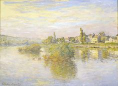 Claude Monet (French, Bords de la Seine a Lavacourt, Oil on canvas, 22 x 31 ½ in. At the Frick Art & Historical Center, Pittsburgh. French Paintings, Monet Paintings, Beautiful Paintings, Landscape Paintings, Claude Monet, Pittsburgh, Artist Monet, Pond Painting, Impressionist Artists
