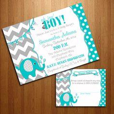 Turquoise and Grey Chevron Elephant Boy Baby Shower Digital Invitation and Diaper Raffle Set