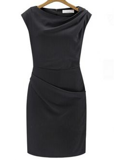 Formal High Waist Solid Black Dress with Zipper with cheap wholesale price, buy Formal High Waist Solid Black Dress with Zipper at rotita.com !