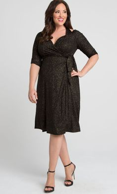 Find the perfect plus size cocktail dress on Kiyonna Clothing's site. Stay golden in the Evaline Wrap Dress as you shimmy and sway the night away.