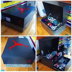 Need this for my husband and son!!! Awesome Sneaker Storage Solution Inspired by Air Jordan 3 Box - SneakerNews.com