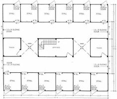 Barn plans 8 stall horse barn design floor plan for Horse barn with apartment floor plans