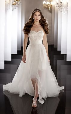 2 in 1 wedding gown with detachable overskirt to reveal a short lace dress by Martina Liana - Style 445