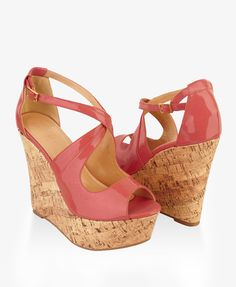 Patent Peep-Toe cork wedges are a summer must! $29.80