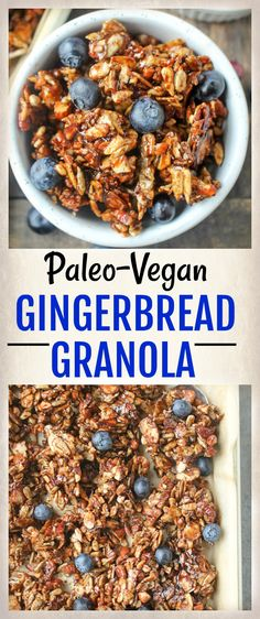 Paleo Gingerbread Granola - easy to make and so delicious! Gluten free, dairy free, and vegan! Sweetened with maple syrup!
