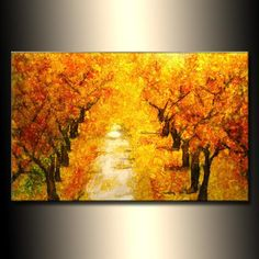 """Landscape Autumn Colors Tree Pathway Abstract Painting SIZE :36""""X 24""""X 3/4"""" TITLE : SUMMER DAY (HIGH GLOSS FINISH) made to order listing this painting is alread"""