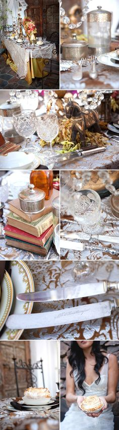 Elegant old-world European inspired wedding decor and tablescape, china and tabletop setup. This the closest pics of the feel I want.