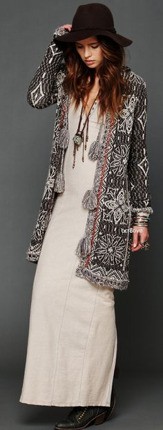 Free People Echoed Pattern Pom Pom Cardigan