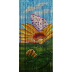 Sunflower is a 90 x beaded door curtain featuring a striking sunflower bloom visited by a pink and white butterfly, set in the foreground of a natural scene of blue sky and green grass. Beaded Door Curtains, Bamboo Curtains, White Butterfly, Green Grass, New Age, Bloom, Scene, Sky, Doors
