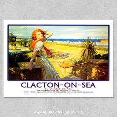 LNER Clacton-on-Sea railway poster print. Retro Posters, Vintage Travel Posters, Villages In Uk, Butlins, The Age Of Innocence, British Travel, Travel Ads, Railway Posters, British Isles