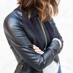 "stitchfix: ""Channelling your rebellious side? Throw on this faux-leather moto jacket for instant edge. #YouRebelYou (Collins Faux-Leather Jacket)"""