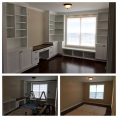 Custom office built-in cabinetry complete with desk with hanging file drawers, window seat with open cubbies, base cabinets with shaker style doors, bookshelves with adjustable shelving, recessed led lighting, crown molding and base molding.