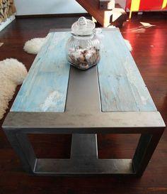 Handmade Rustic Reclaimed Wood & Steel Industrial Coffee Table