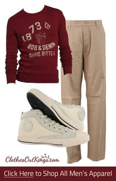 Men's Casual Apparel. Mix and match products from top brands to customize your look. What do you think of this casual yet sharp ensemble? Buffalo Tee - http://www.clothesoutkings.com/tops/?sort=featured&page=3&utm_content=bufferd6af2&utm_medium=social&utm_source=pinterest.com&utm_campaign=buffer, Burton Pants - http://www.clothesoutkings.com/new-category/?utm_content=buffereeff9&utm_medium=social&utm_source=pinterest.com&utm_campaign=buffer, Converse High Tops…
