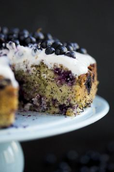 gluten free blueberry, lemon, poppy seed, and almond cake