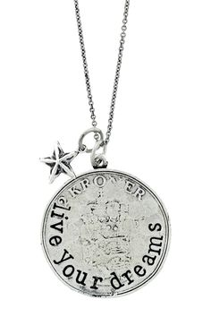 """""""Live Your Dreams"""" Coin & Star Charm Necklace by Alisa Michelle on @hautelook"""