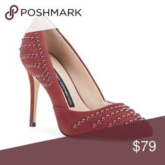 "French Connection Burgundy Leather Pumps Burgundy suede leather point toe pumps with contrast studs by French Connection. Beautiful color, classic, and chic! Heels are 3.5"". 👠. French Connection Shoes Heels"