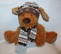 """Hugfun International Snowflake Ski Hat Scarf 14"""" Stuffed Plush Puppy Dog Lovey #HugFun"""