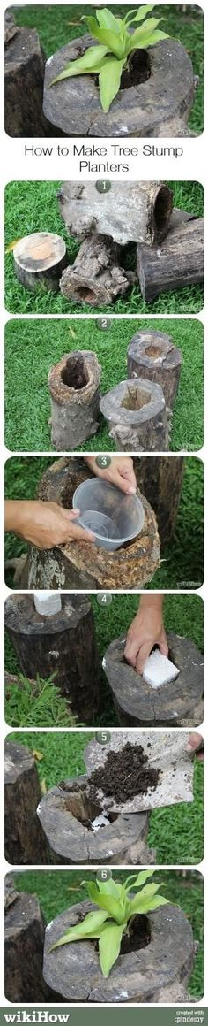 How to Make Tree Stump Planters by terry