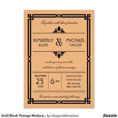 Gold Black Vintage Modern Art Deco Wedding Card