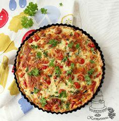 Kermaruusu: Kinkku-kasvispiirakka Mozzarella, Quiche, Good Food, Breakfast, Recipes, Red Peppers, Morning Coffee, Recipies, Quiches