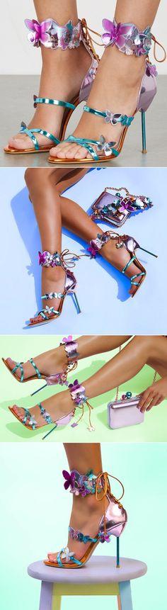 Sophia Webster 'Harmony' Metallic Leather Butterfly Heels